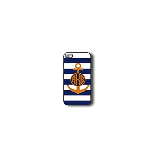 Krezy Case Monogram iPhone 6 PLUS Case, blue stripes with Anchor Monogram iPhone 6 PLUS Case, Monogram iPhone 6 PLUS Case, iPhone 6 PLUS Case Cover