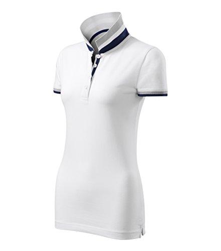 Modisches Damen Poloshirt Collar Up - Super Premium Stoff & Shirt Schnitt | 100% Baumwolle | S - XXL (257-Weis-M)