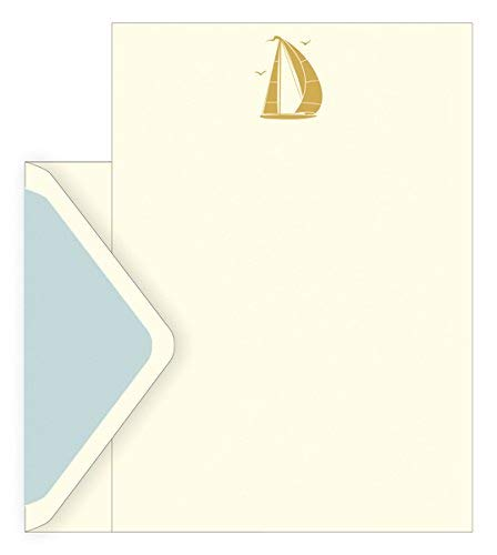 The art file boxed notecards - boat design- set di 10 fogli di carta intestata ,10 mantenimento e 10 buste