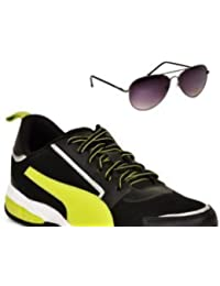 Puma Triton Black & Green Sports Shoe With TNF Men 100% UV