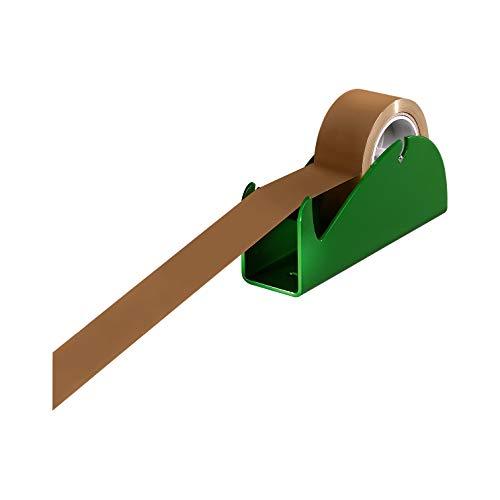 Tischabroller Paketband, Paketklebeband, Packbandabroller Profi, metall, für Rollenbreite 50 mm, mit Gummifüßen, grün