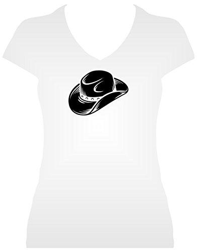 Premium Western Shirt Damen grosser Cowboyhut Line Dance Shirt mit Glitzeraufdruck  schwarz auf weiss