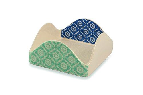 Weiß Serviettenhalter Keramik (Galileo Casa Marrakesch Serviettenhalter, Keramik, Weiß/Hellblau)