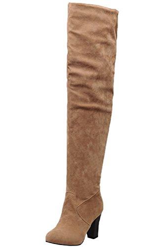 Stiefel High Heel Damen Casual Herbst Winter Over The Boots von Bigtree Gelb 36 EU (Gelb Oberschenkel Hohe Stiefel)