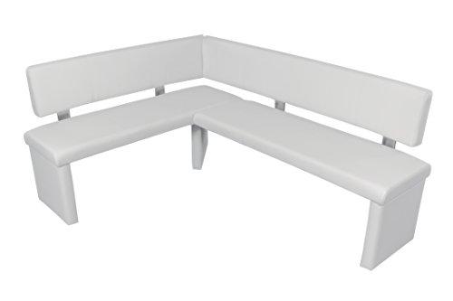 CAVADORE Eckbank Rechts Charisse/Küchen-Eckbank mit Langem Schenkel Rechts/Gepolsterte Kunstleder-Eckbank mit Rückenlehne in weiß/Innenmaß: 95 x 140 cm / 149 x 194 x 54 x 83 cm (B x B x T x H)