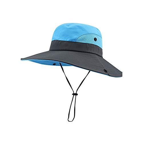 hop Sun helmet Sonnenhüte für Damen, Sommer, breite Krempe, UV-Schutz, LSF, Pferdeschwanz, für Jagd, Angeln, Wandern, Damen, blau, Einheitsgröße ()
