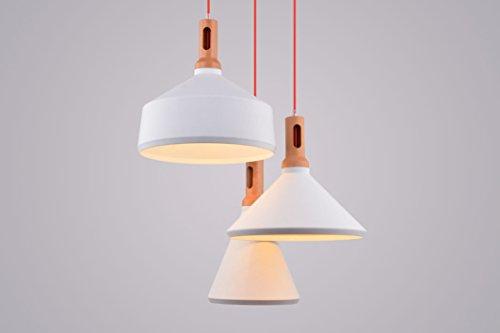 CAGUSTO Pendelleuchte Lindby II 3-teilig 3er Weiß Metall Holz-Optik Stoffkabel Hängeleuchte Design Retro