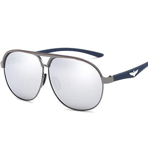 Easy Go Shopping Trendy Men Driving Metal Polarized Aviator Sonnenbrille Polarisierte Sonnenbrille Sonnenbrillen und Flacher Spiegel (Color : 02Sliver, Size : Kostenlos)