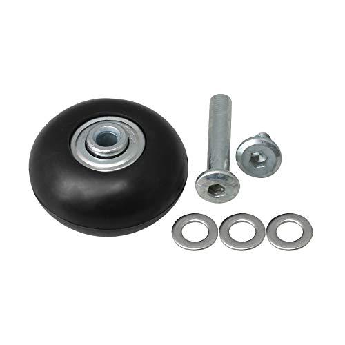 BQLZR 46x23mm Schwarz PVC Kunststoff Lenkrollen Kits für Gepäckreparaturteile -