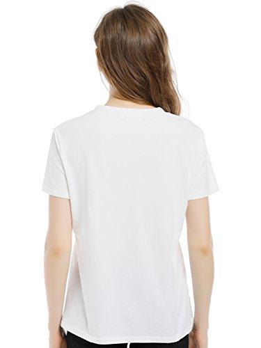 Blooming Jelly Frauen Top Feministin Mädchen kann alles Brief drucken weißes T-Shirt grundlegende T-Shirt Weiß