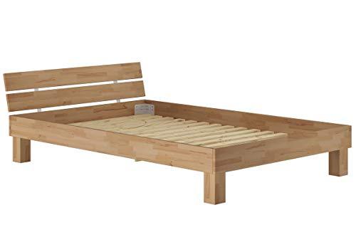 Erst-Holz Massivholzbett 120x200 Einzelbett Buche naturbelassen-geölt mit Rollrost 60.86-12