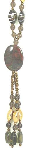 Modeschmuck extra lange Y- Kette Damen Kette Halskette Marke Irina Farbe braun gold Glas und Steinchen schwere Qualität 0002 (Ornament Glas Schwere)