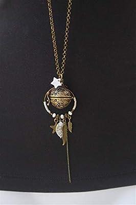 Bola de grossesse chaine bronze cage fleur blanc feuille plume