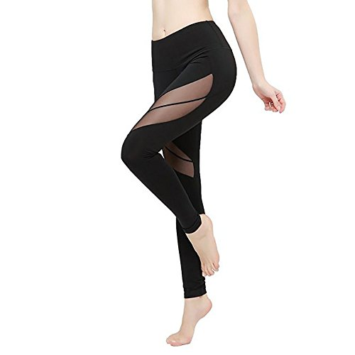 Phennie da allenamento da donna in rete elastica alta in vita, leggings Active sport running yoga pantaloni Black #2