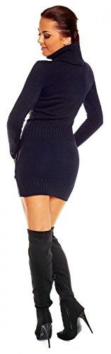 Zeta Ville - Damen Strick-kleid mit Rollkragen Minikleid Mit Tasche vorne 178z Marine