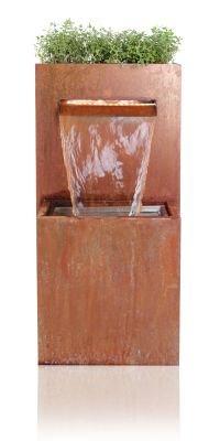 Bepflanzbarer Wasserfallbrunnen aus Cortenstahl mit LED-Beleuchtung - H: 89cm x B: 72cm