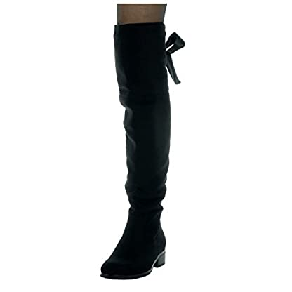 Angkorly - Women's Fashion Shoes Thigh Boot - Cavalier - Soft - Satin lace Block high Heel 3.5 cm 5