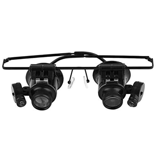 20X LED Head-mounted Uhr-Wartung Lupen Doppel Augen Lupen mit LED-Licht - Lupen Auge Ein