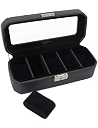Deluxe 5pc Watch Box Handmade in Black Leatherette –Lockable- by Tuscan Designs TD-90005