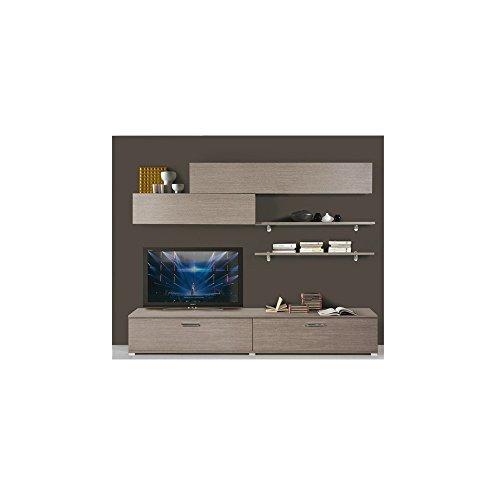 Argonauta parete attrezzata componibile larice grigio in legno nobilitato da l240 cm