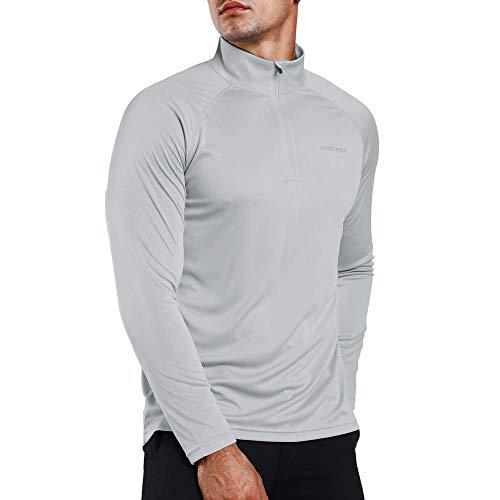 Ogeenier Herren UPF 50+ UV Sonnenschutz 1/4 Zip Langarmshirt Performance Langarm T-Shirt - Ein Langarm-shirt