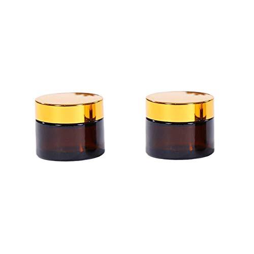UNZE Leere Nachfüllbare Braune Glascreme Flasche mit Gold Deckel und Handpad Maske Lotion Lippenbalsam Glas Pot Vial Kosmetikbehälter ()