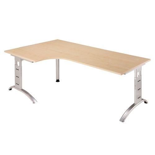 Höhenverstellbarer Schreibtisch F-Serie Farbe (Tischplatte): Ahorn, Farbe (Fuß): Silber -