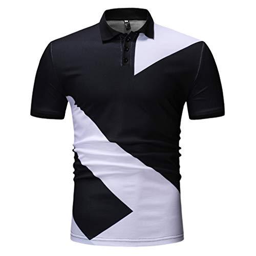 ODRD Männer T-Shirt Herren Mens Buttons Design Halbe Strickjacken Kurzarm Patchwork Casual T-Shirt Hoodie Sweater Langarm Shirt Tee...