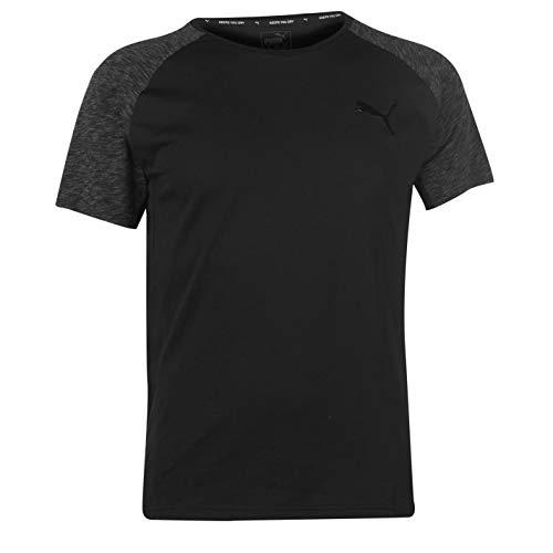 Puma Herren Evostripe Tee T-Shirt, Cotton Black, L - Puma Herren Raglan