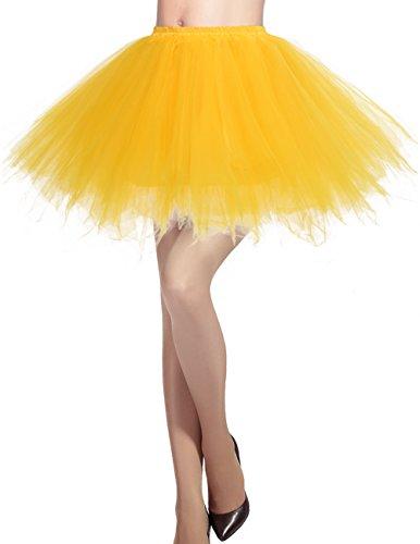 (Dresstells Damen Tüllrock 50er Rockabilly Petticoat Tutu Unterrock Kurz Ballett Tanzkleid Ballkleid Abendkleid Gelegenheit Zubehör Dark Yellow L)