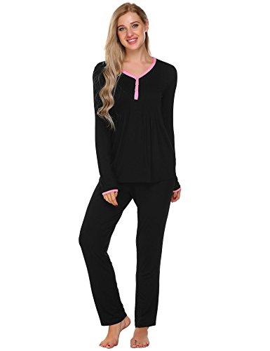 ADOME Damen Schlafanzug Hausanzug Langarm V-Ausschnitt mit Elastische Taille Shorts Pyjama Set (Schlaf-hose Passform Lockere)