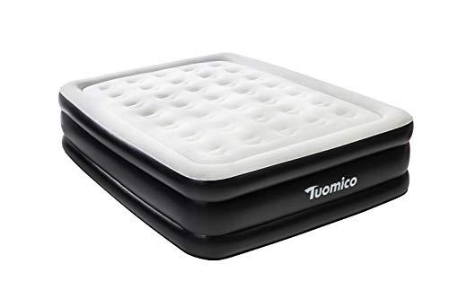 Tuomico Queen Luftbett Aufblasbare MatratzeAirbed Bett mit Eingebauter Elektrischer Pumpe für Schnelles Aufblasen,Verbesserte Beflockung Luftmatratzen, langlebig, 203 * 152 * 48CM Schwarz