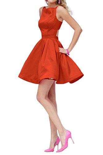 Milano Bride Damen Kleid Heimkehrkleider Cocktailkleider Promkleider Party A-linie Kurz Mini Rot