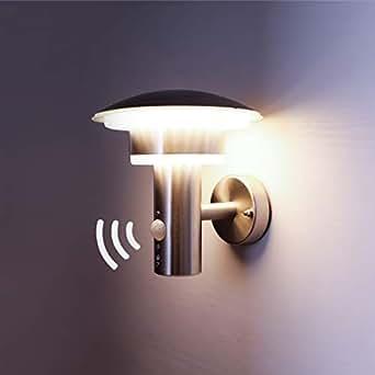 NBHANYUAN Lighting® LED Außenlampe mit Bewegungsmelder und Dämmerungsschalter Aussenwandleuchten Silber Edelstahl 3000K Warmweiß Licht 220-240V 1000LM 9.5W IP44 (mit PIR Sensor)