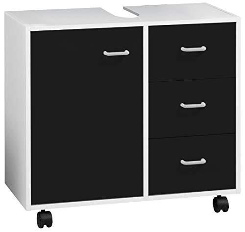 FACKELMANN Waschbeckenunterschrank Standard/Maße (B x H x T): ca. 65 x 59 x 29 cm/hochwertiger Schrank fürs Bad und WC / 1 Tür und 3 Schubladen/Korpus: Weiß/Front: Schwarz/Anthrazit inkl. 4 Rollen -