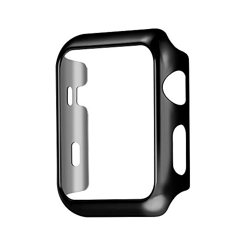 Pacyer Funda Para Apple Watch 38/42mm Carcase Serie 1 Protector de Pantalla HD Transparente Completa Case Anti-Arañazos Para iWatch (42mm, Negro)