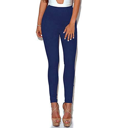 AKDYH Damen HosenHerbstWildleder Bleistift Hose Sexy Fitness Femme Slim PushHose Hohe Taille Dünne Stretchy Leggings, Blau, L