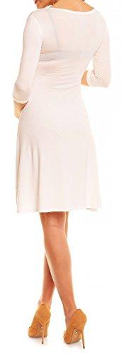 Zeta Ville - Maternité Robe grossesse manches 3/4 col en V - femme - 282Ac Blanc Cassé