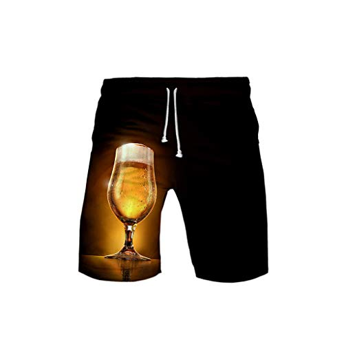 Cardith Badehose für Herren Bier 3D Druck Bunt Kurze Hose Badeshorts Schnelltrocknend Männer Jungen mit Mesh Futter Surf Shorts M-5XL