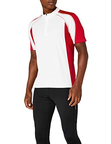 James & Nicholson Herren Kurzarm Bike T-shirt weiß (white/red) X-Large - Kurzarm-herren-bike-trikot