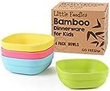 GO FRESH Bambus Kinderschalen, Set mit 4 Teilen Bambus Kinder Geschirr für den täglichen Gebrauch, umweltfreundliche Kinder Bambusschalen, BPA frei, spülmaschinenfest und stapelbar