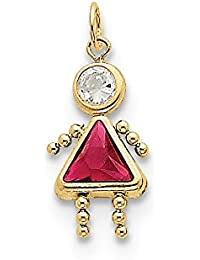 10k Yellow Gold July Girl Birthstone Charm - Higher Gold Grade Than 9ct Gold
