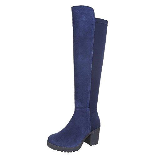 Overknee Stiefel Damen Schuhe Boots Wildleder Schwarz Blau Braun Grau 36 37 38 39 40 Blau