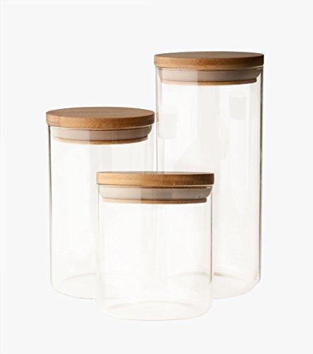 UH Choice Schöne 3 Stück Vorratsgläser Set (gleich groß), Vorratsdosen Glas-Behäler...