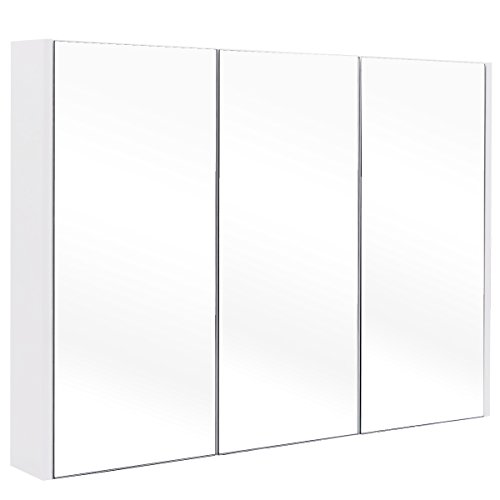 COSTWAY Spiegelschrank Badezimmer, Badezimmerspiegel mit verstellbaren Ablagen, Badezimmerspiegelschrank weiß, Wandschrank mit Spiegel, Hängeschrank 90,5x11x65cm
