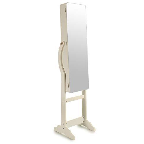 La tua moda unica armadio portagioie da terra con specchio per organizzare gioielli e accessori. legno laccato bianco. luce interna. chiusura di sicurezza con chiave.