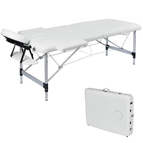 Wellhome lettino da massaggio 2 zone alluminio pieghevole portatile lettini massaggi professionale tavolo da massaggio tattoo con poggiatesta e bracciolo staccabile, borsa da trasporto xxl(bianco)