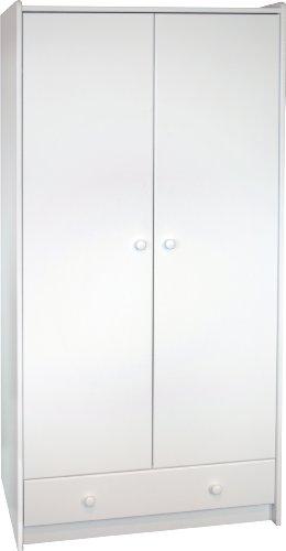 Steens For Kids Kleiderschrank, Kinderzimmerschrank, 2 Türen, Innenaufteilung, 95 x 180 x 58 cm (B/H/T), MDF, weiß