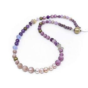 Designer Kette im Farbverlauf mit Süßwasserperlen, Fluorit, Amethyst und Polaris Perlen