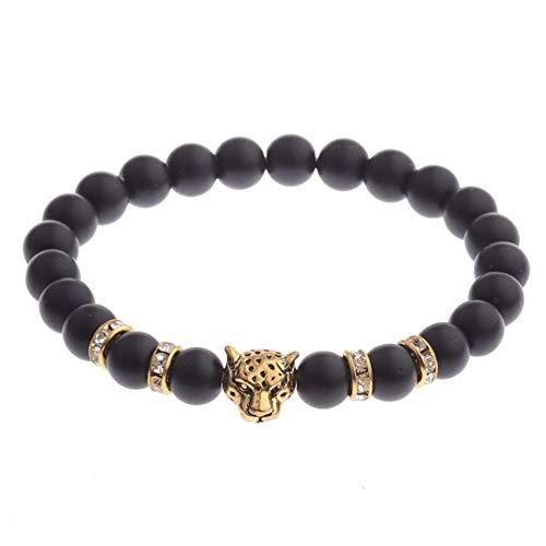 WL Armband Silber Gold Alloy Leopardenkopf 8Mm Künstliche Weiß Blau Schwarz Perlen Unisex Yoga Armbänder,J -